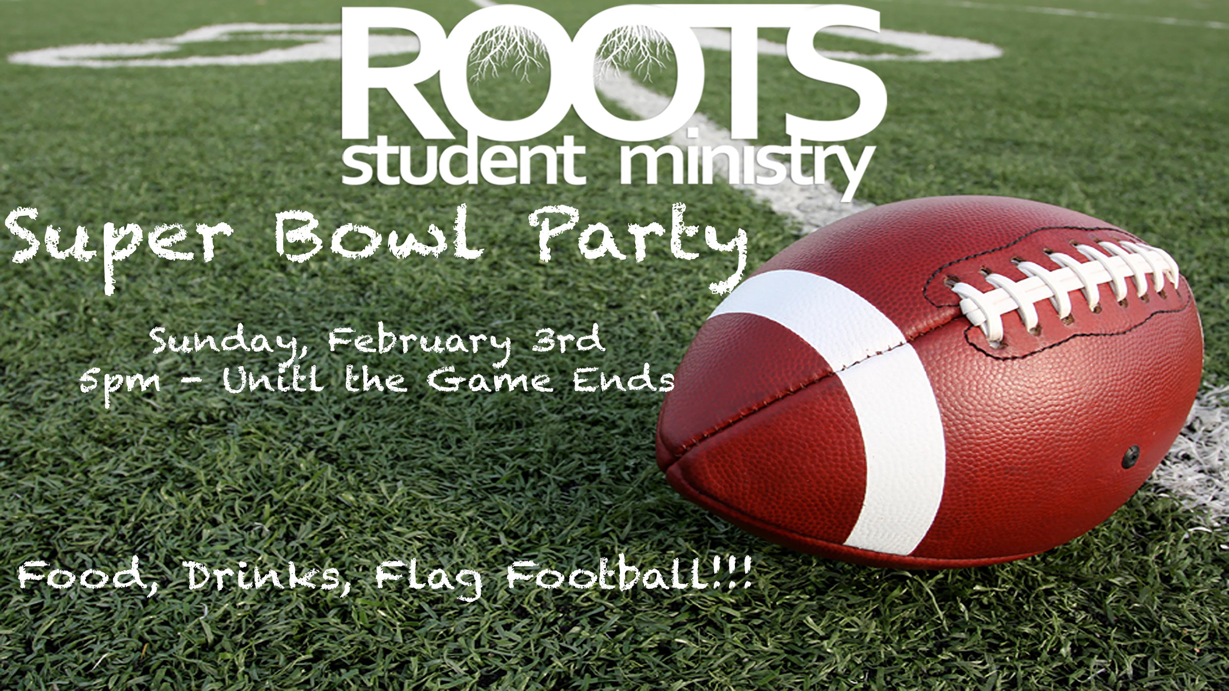 Super Bowl party located at Family Life Church in the Roots Room.