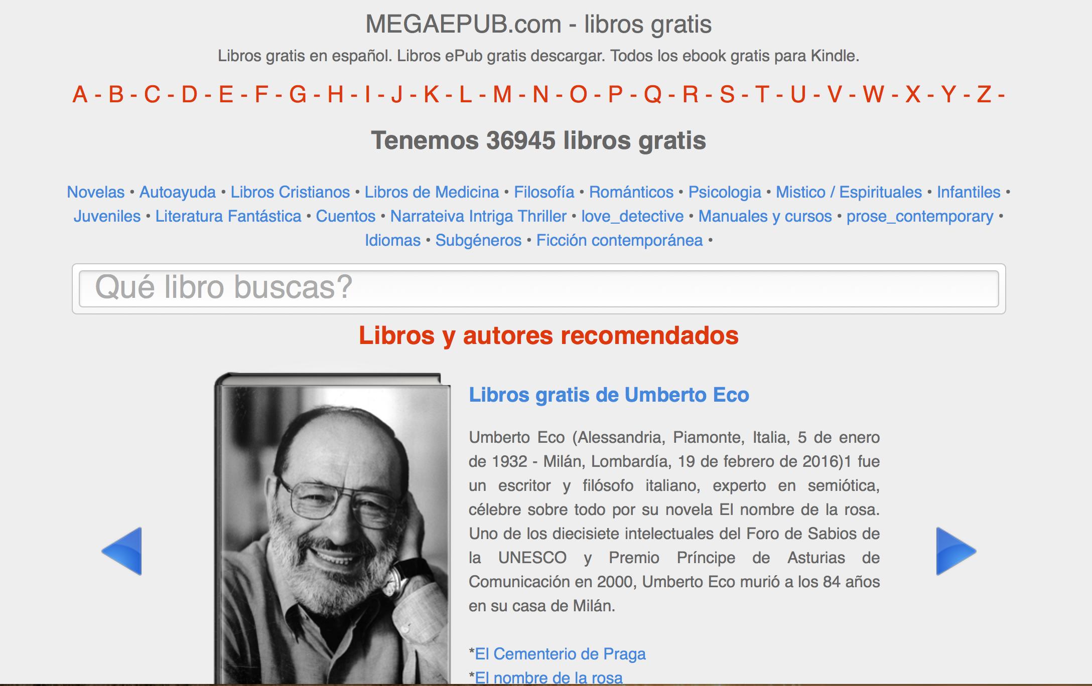 Et billede fra hjemmesiden, hvor du kan læse om bogen, som de anbefaler. Her Umberto Eco
