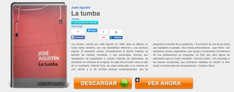 """Du kan vælge en bog, som du gerne vil downloade, f.eks. La Tumba af José Agustín. Du skal sørge for at trykke på linket, der hedder """"descargar"""", idet det er det eneste link, der giver mulighed for at downloade bogen."""