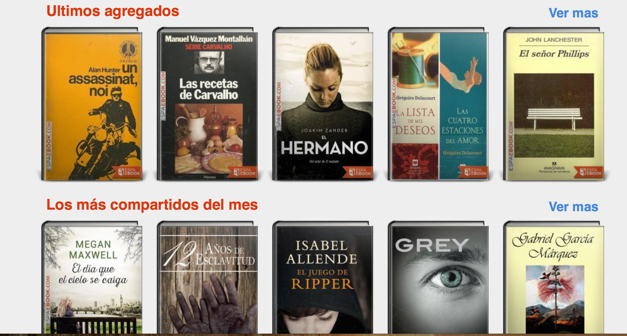 Hermed et billede med nogle af de e-books, du kan downloade fra ESPA E-BOOK. Her et lille udpluk med forfattere som Isabel Allende og Gabriel García Márquez.