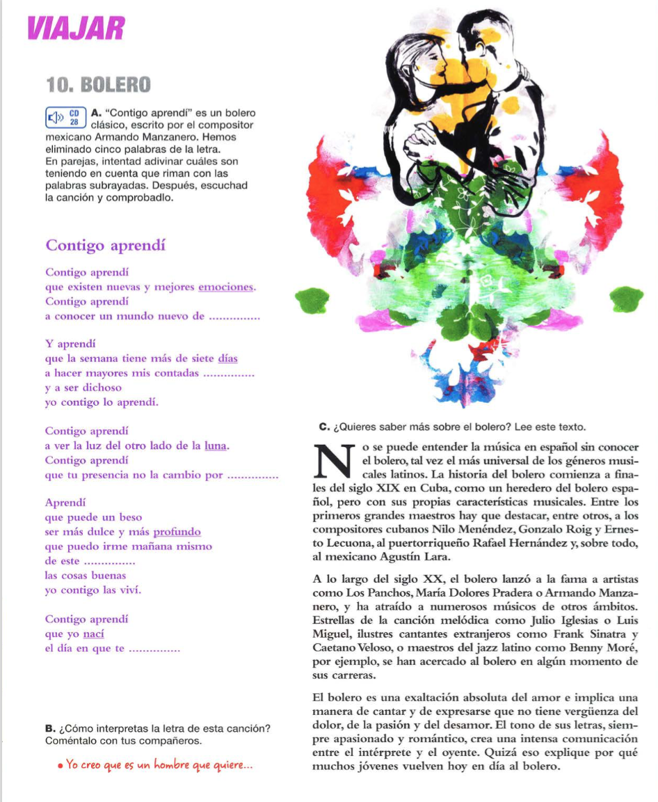 En tekst om Bolero. Teksten står skrevet på spansk. Her kan læse mere om historien bag Bolero. Desuden en dejlig sang af Armando Manzanero.