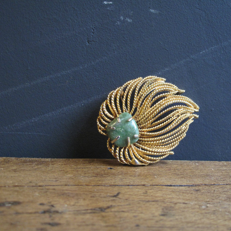 Naturalistic Gold Metal Brooch