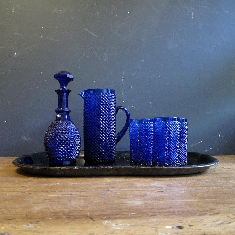 Cobalt blue studded glassware