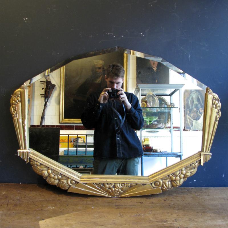 Art Deco Mirror with Gilt Frame