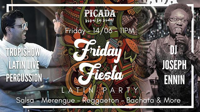 The hottest Latin parties in town are in PICADA  Join us tonight! and enjoy the best Reggaeton, Merengue & Salsa mixes by the one and only DJ JOSEPH ENNIN in company of our beloved Latin live percussion band TROPISHOW who will elevate the party with the sound of Congas and Timbales  Starting at 8PM DJ Joseph will delight us with the greatest Caribbean tunes, Kizomba and Bachata mixes on our Oasis Terrace right before our big party on out main floor starting at 11 PM  Get ready to move your feet and hips and get transported to the clubs best Latin clubs in the world.  Come and join us early and enjoy $38 standard drink on our newly expanded Oasis Terrace until 10 PM  Nos vemos!!!