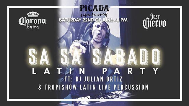 It's Sa Sa Saturday and we have a very special guest all the way from Bogota Colombia, DJ Julian Ortiz  Join us from 11:00 PM and get your feet and hips ready for a night to be remembered.  Julian started his music career at a very tender age. Coming from a family of great musicians, he had a big influence and soon he started playing latin percussion instruments and joined his family band and was always surrounded by music.  He has performed in many places such as Dubai UAE, Jakarta Indonesia, Macau China several times, Hong Kong Island, Bangkok Thailand, Taipei Taiwan, Singapore, Shenzhen China,  He's the founder and creator of SWING ON - The Latin & Caribbean Party, well recognized and known as the best Latin Party in Macau with more than 10 great versions with great crowds delivering his highly energetic performances time after time for a night to remember.  Tropishow Latin Live Percussion will also be joining us to elevate the experience with the sound of Timbales and Congas
