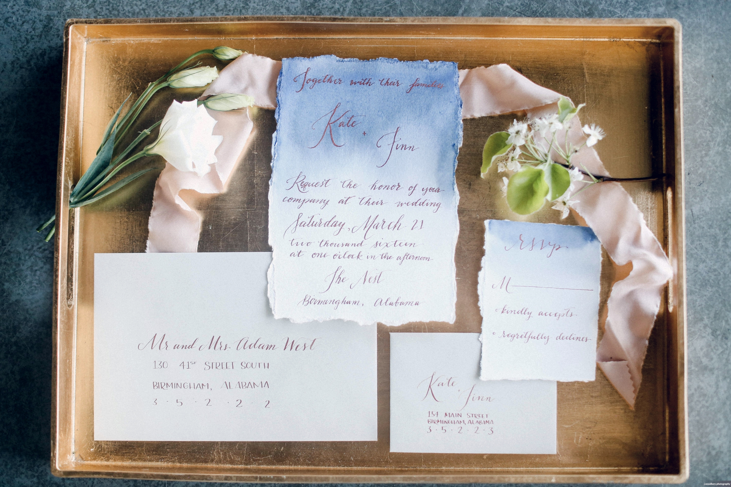 Modern romantic blue watercolor wash wedding invitation suite with moody blue and copper calligraphy -Photograph by  Jennifer Woodbery Photography
