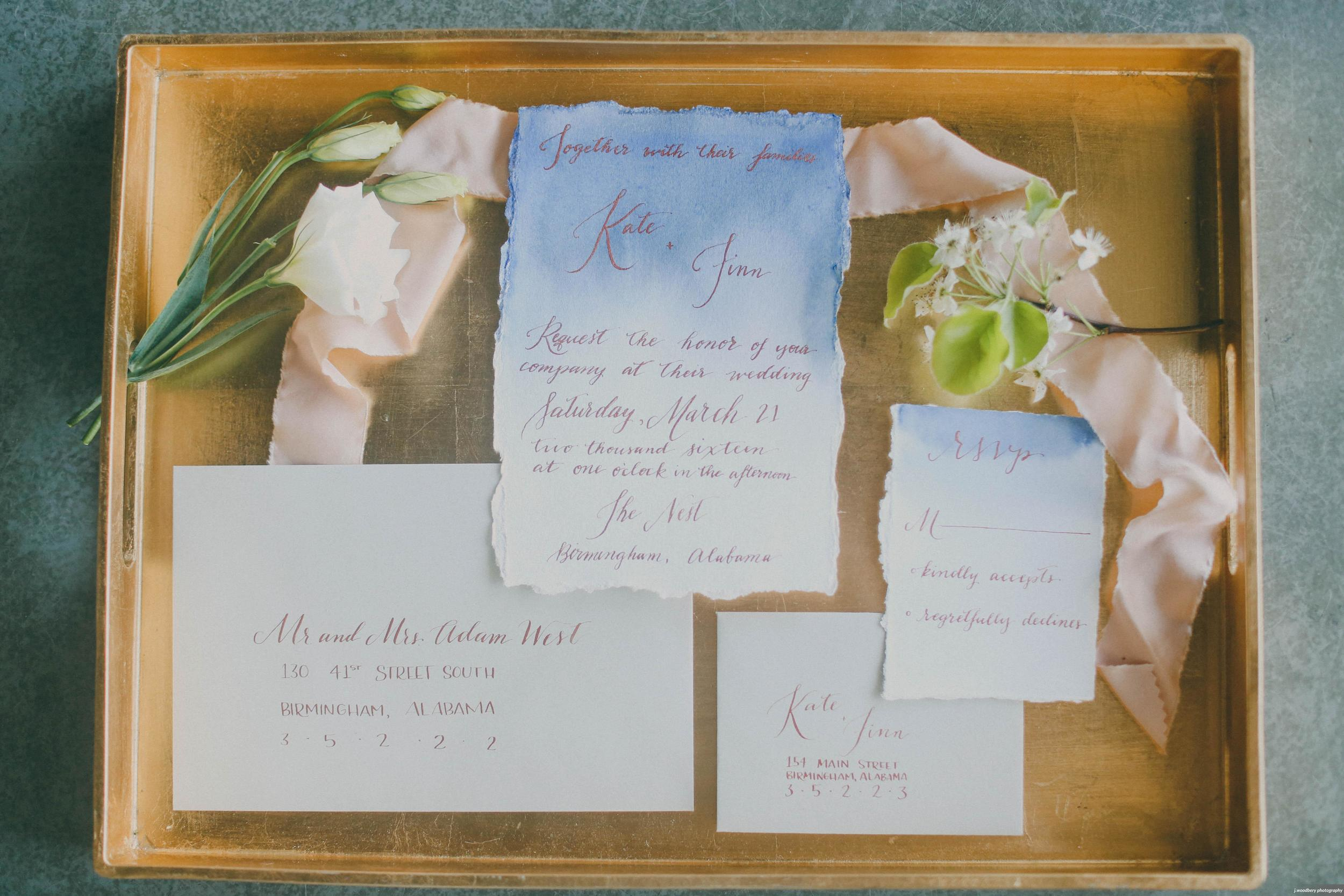Blue Watercolor Wedding Invitation with Copper Calligraphy