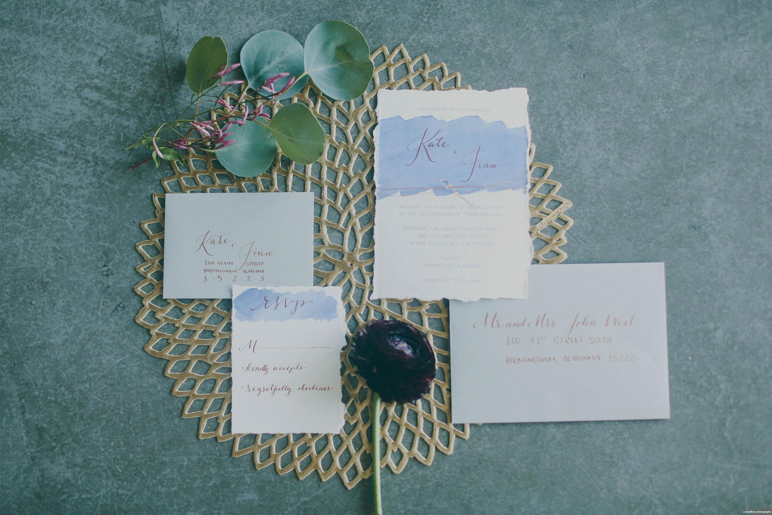 Modern Blue Watercolor Wedding Invitation with Copper Calligraphy