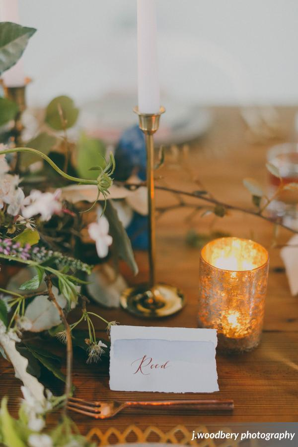 Blue Watercolor Place Card with Copper Calligraphy