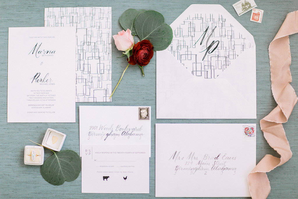 art museum wedding invitation