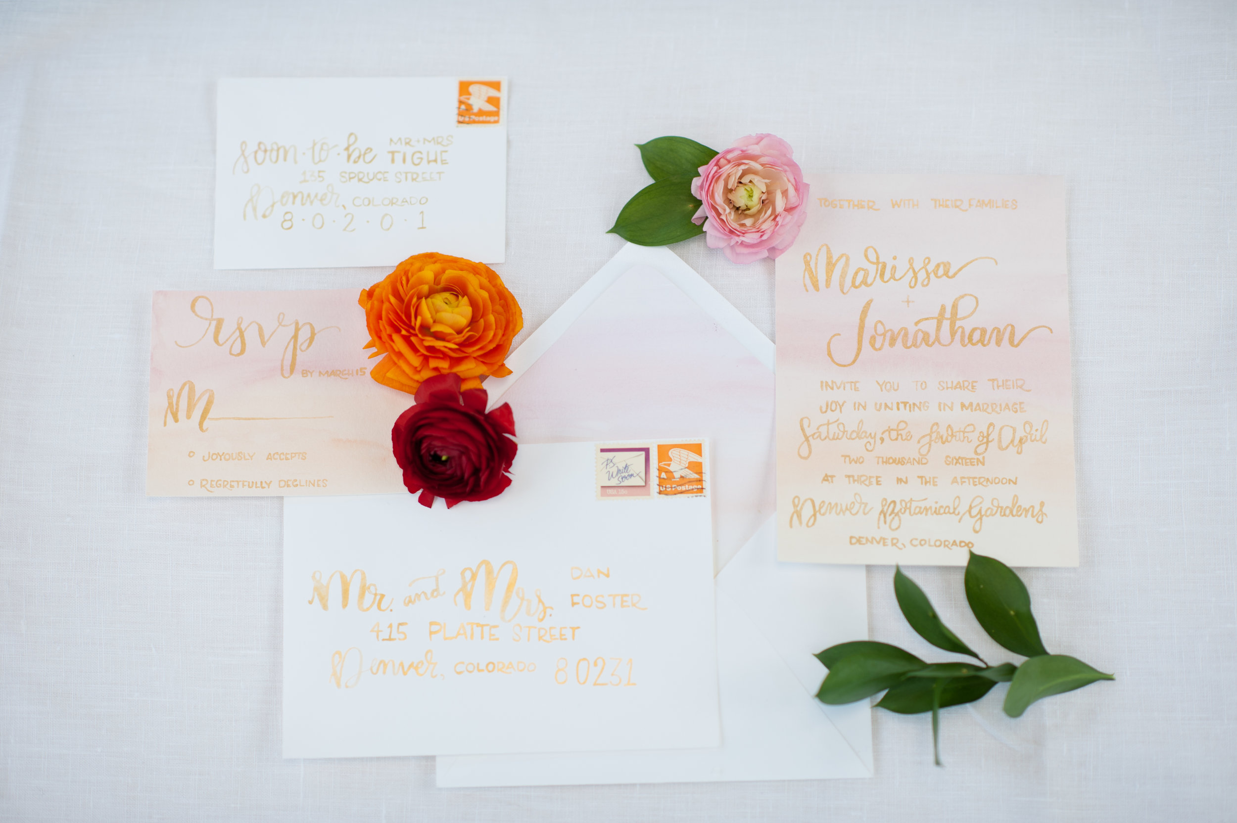 watercolor wedding invitation sunrise brush lettering calligraphy blush pink gold foil