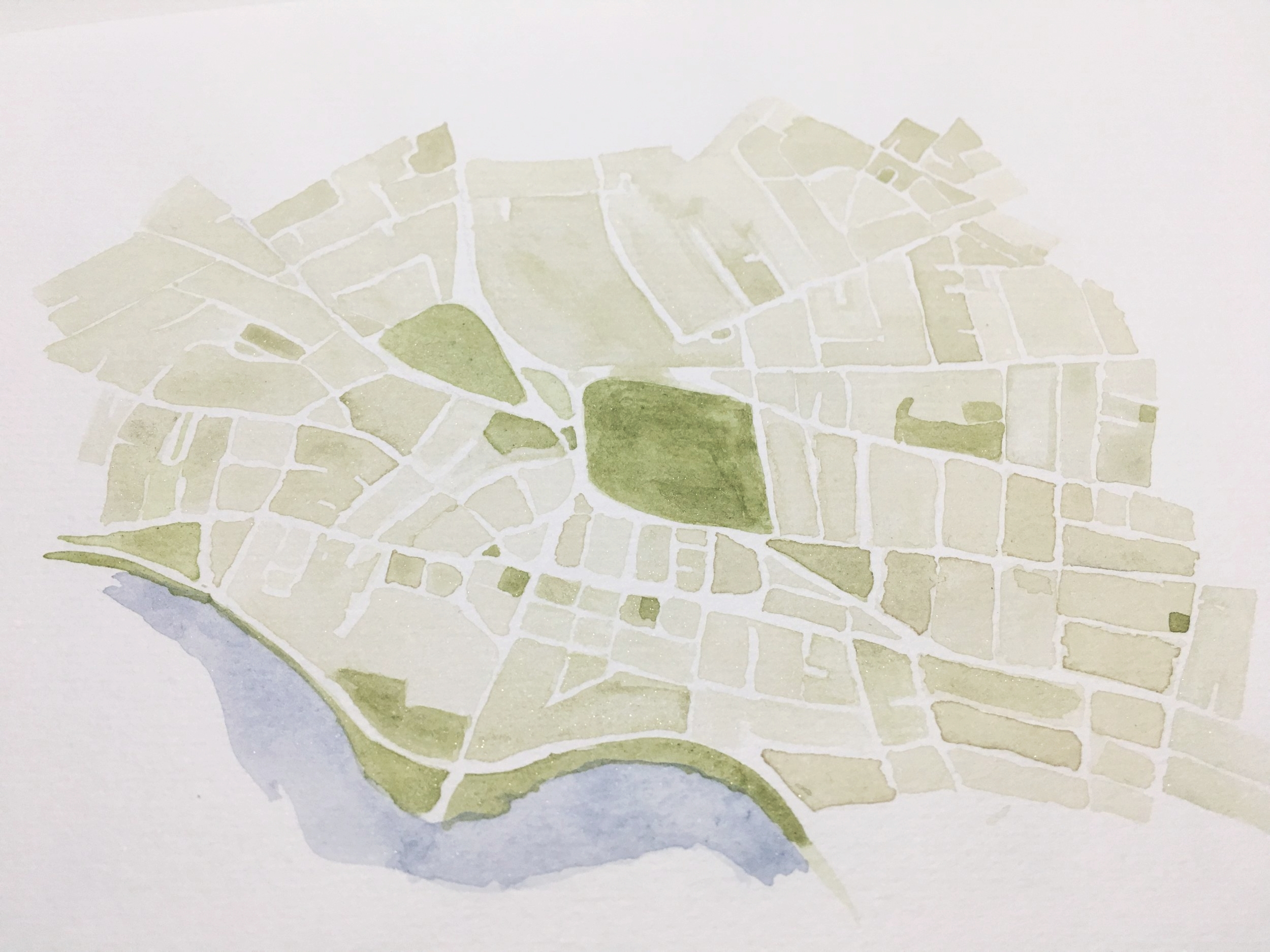 cambridge massachusetts watercolor map