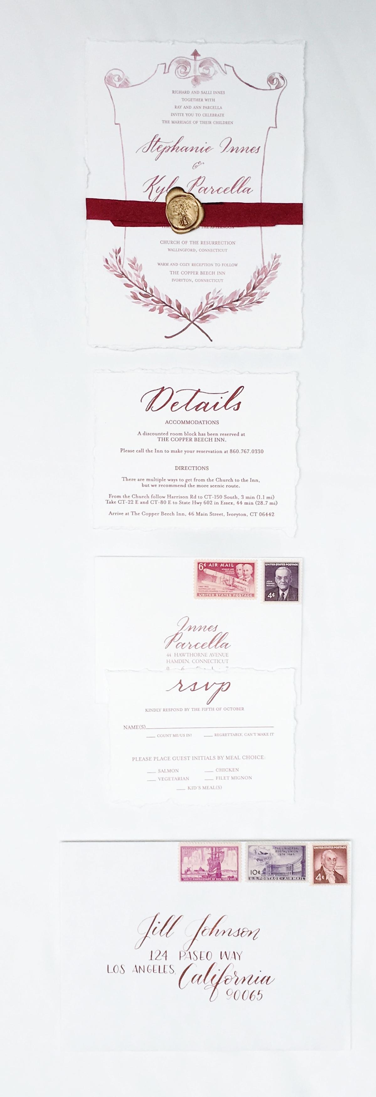 watercolor wine wedding invitation crest announcement frame