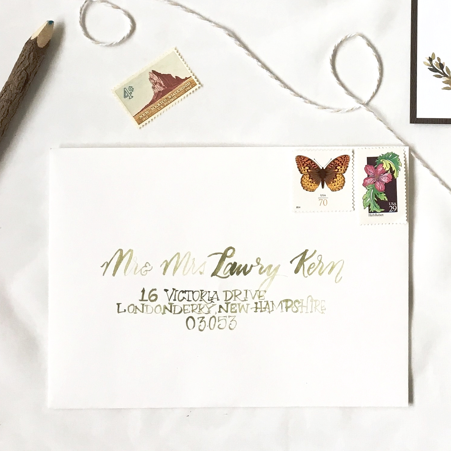 Wedding Invitation - Woodland watercolor romantic vintage calligraphy handpainted.jpg