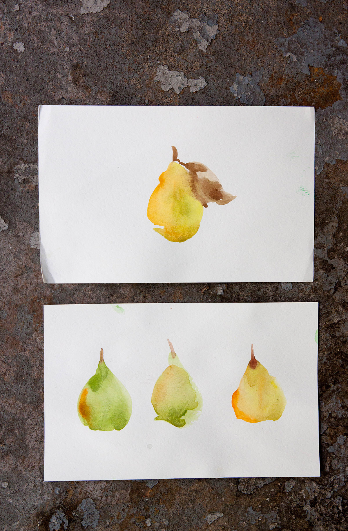 Some of Zaza's tiny painted pears.