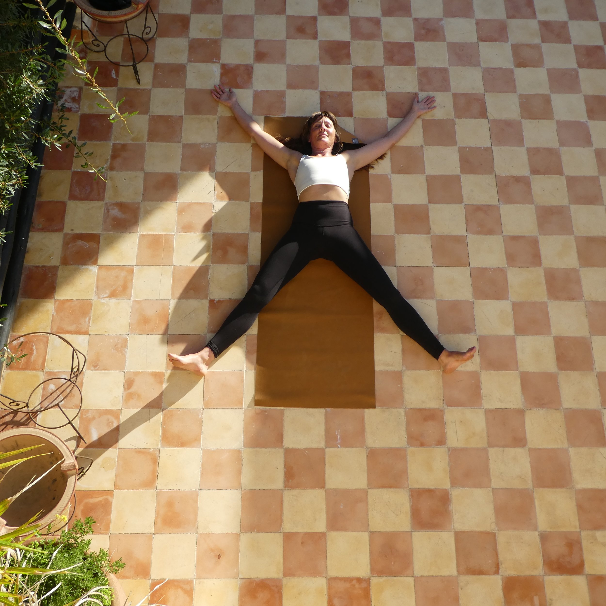 Pentacle - A brighter version of savasana for the lighter months. Legs and arms spread wide then surrender to the floor.