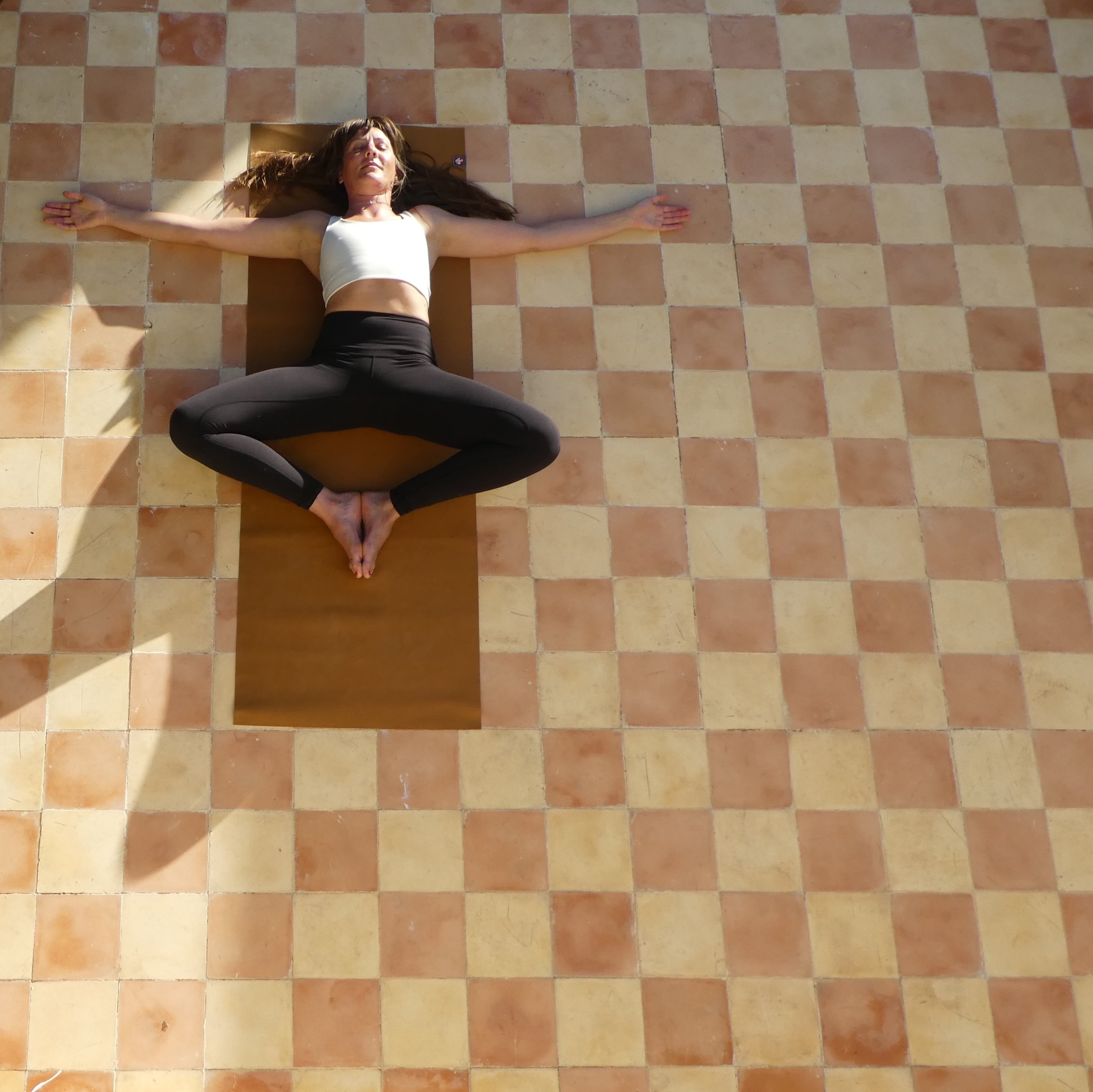 Butterfly with open arms. - Soles of the feet together, draw your legs into a diamond.allow your arms to spread outwards so as to open up the heart space too. Maybe place some blocks or books underneath the knees so as to stop the thighs overworking.