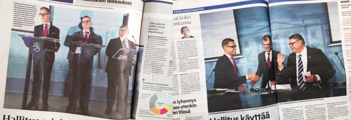 Hallituksen tiedotustilaisuus 8.9.2015. Yhdistelmäkuvassa vasemmalla Helsingin Sanomat (kuva: Sami Kero), oikealla Aamulehti (kuva: Joel Maisalmi).