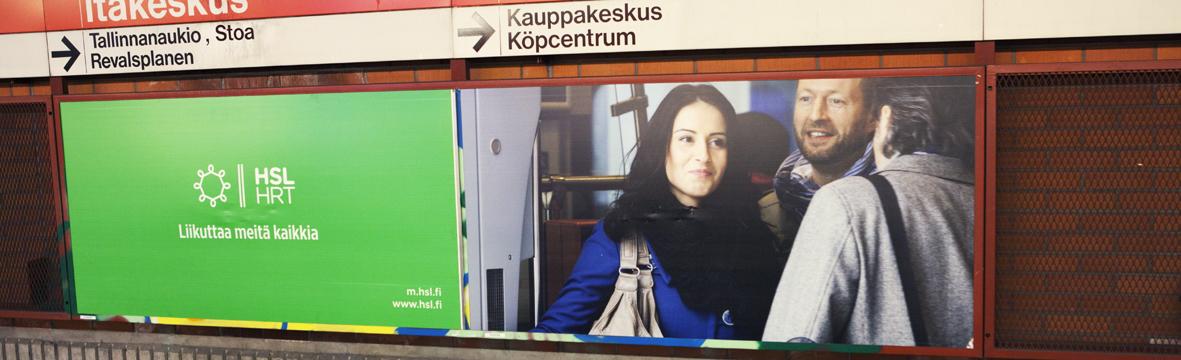 HSL:n mainos liikutti Itäkeskuksessa 19.6.2012.