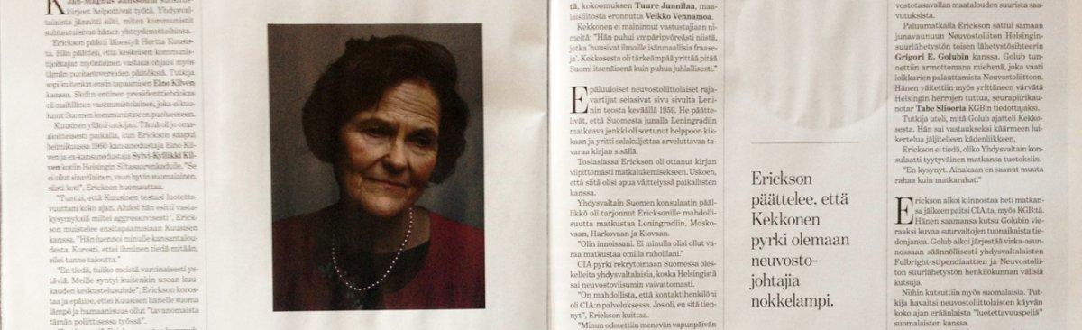 Aapo Huhdan henkilökuva Karen Ericksonista (SK 6.9.2013)
