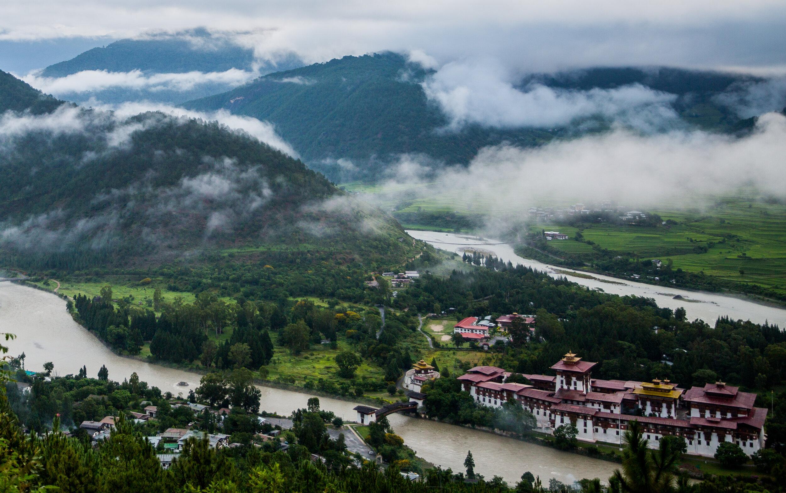 The view of Punakha Dzong from Dhumra Farm Resort.