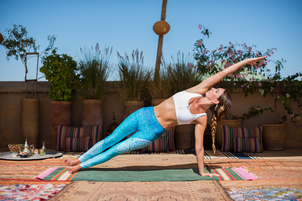 Step 4: Side Plank - (Vasisthasana) Slowly work into this pose by rolling onto the outer edge of the foot, extending the upper arm up and keep the hips lifting up away from the floor. Start holding for 2 breaths then increase to 5. Variations include coming down onto the forearm or bending the knee and placing the upper leg and foot in front of the lower leg. Essential for arm balances as it focuses on balance, flexibility in the wrists, it also helps strengthen abdominal muscles and shoulders.