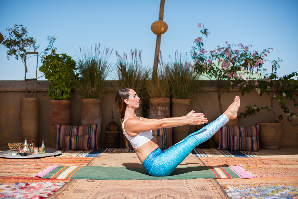 Step 5: Boat Pose - (Navasana)Sit on the floor with your feet flat and spine straight. Extend the legs as much as possible so that the toes are at eye level, extend arms forward palms facing towards the midline. Hold for 5 breaths. A variation to help headstand specifically is to then clasp the hands behind the head and draw the elbows together, hold for 5 breaths.