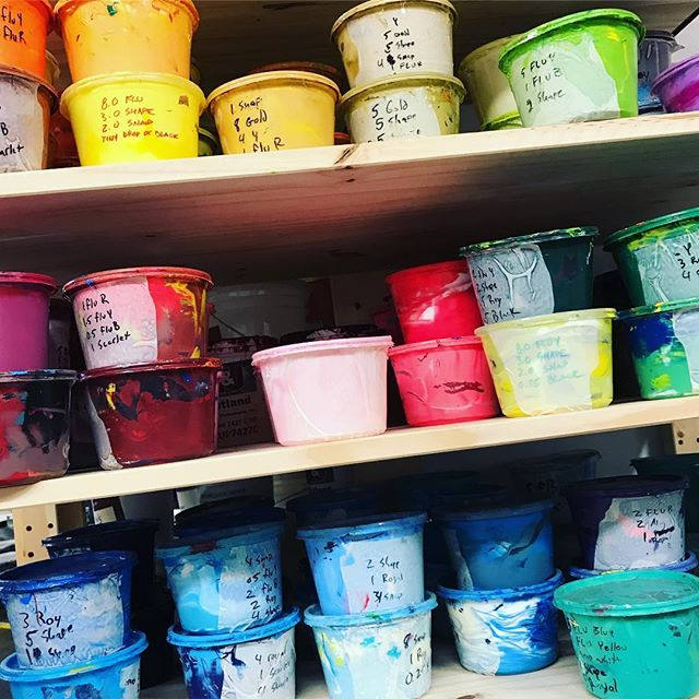 It may be gray skies here in Indy, but we've got all the colors of the rainbow up in here. Did you know we manually mix the ink for your projects? #screenprinter #screenprinting #custom #indy