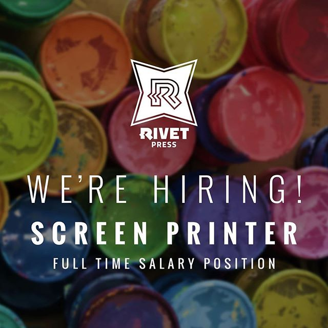 We're hiring! We're looking for a full-time screen printer who can operate an automatic press, oversee daily production, and has experience with plastisol, water-base, and discharge inks. Visit our Careers page on our website (link in profile) to view the Job Description. #screenprinting #screenprinter #jobs #careers