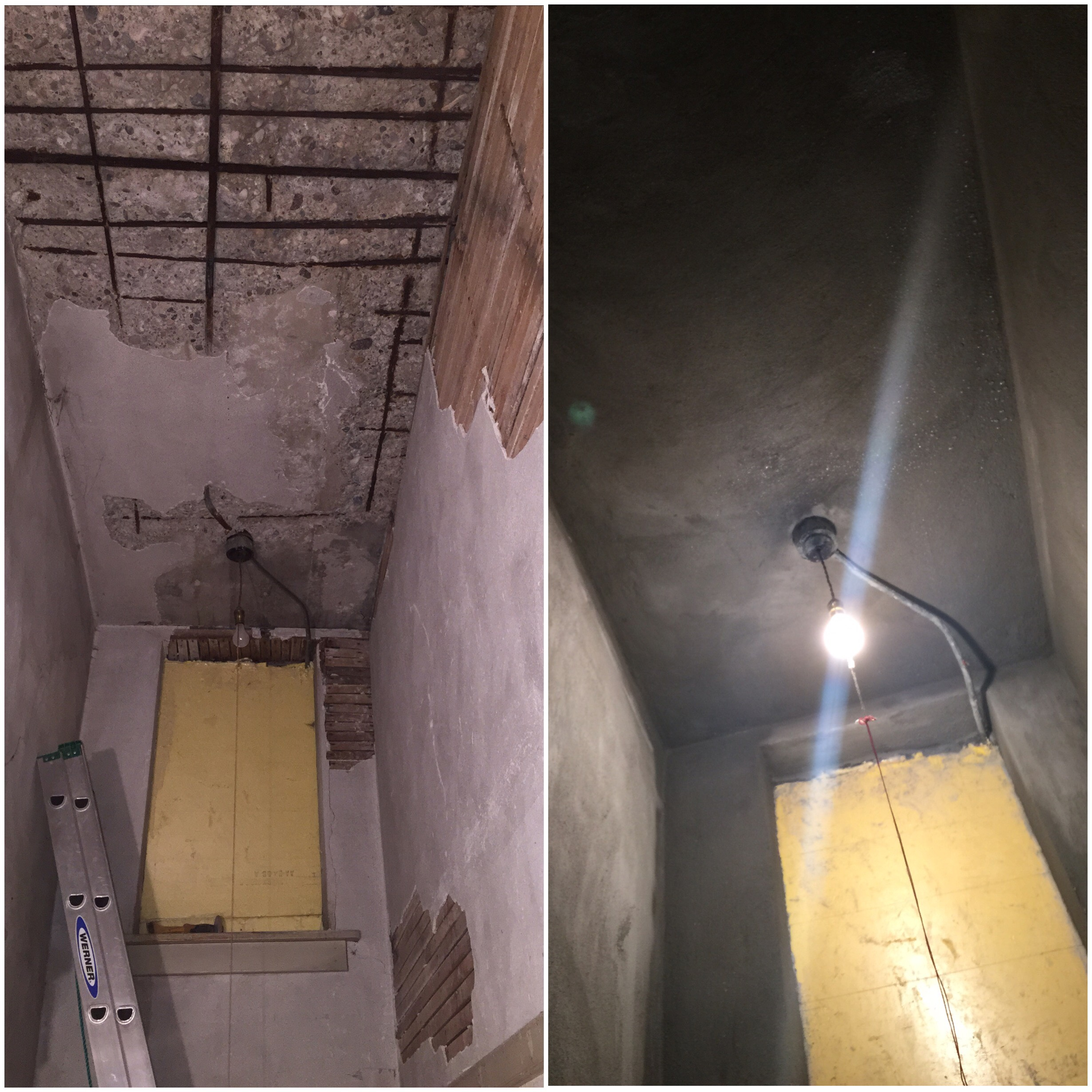 Before and after of storage closet restoration in lower level of the original building. Made possible with a grant provided by North Star Caviar.