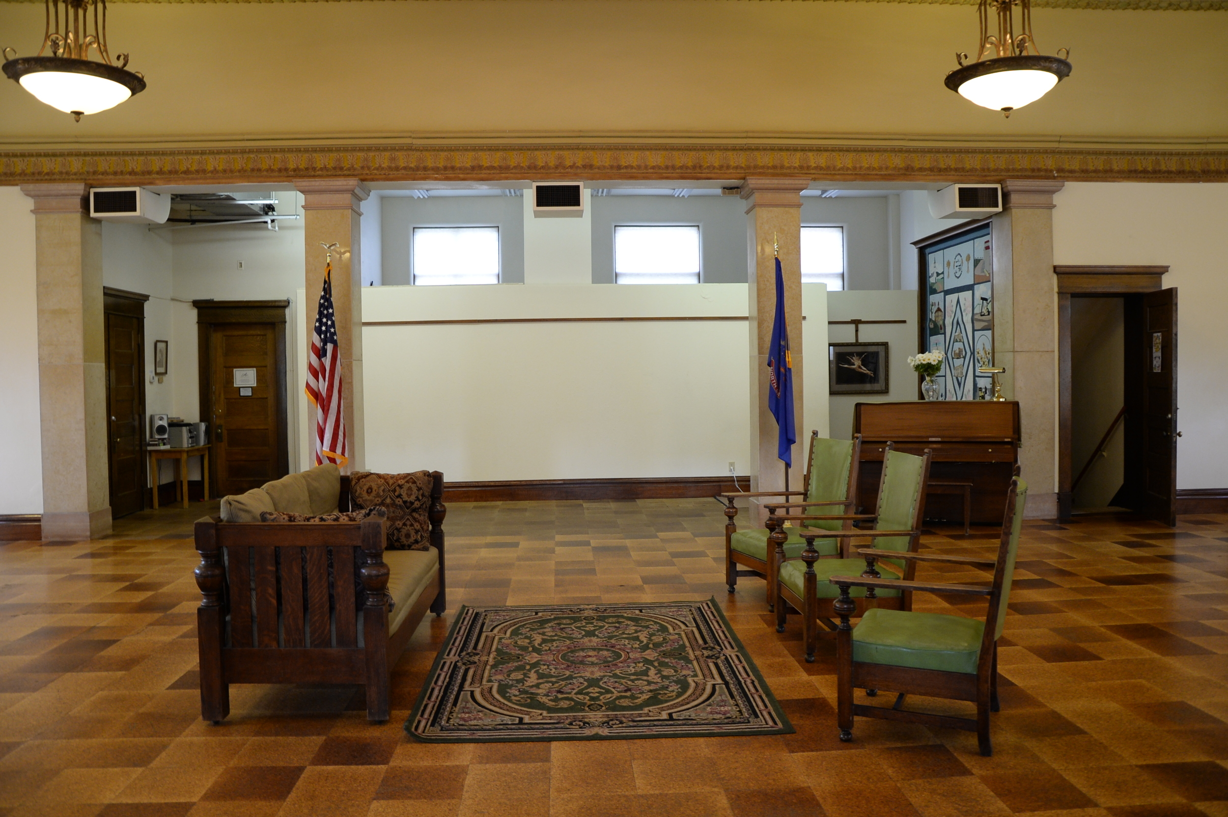 Re-surfacing of the main gallery floor, replacement flooring in damaged area by office, and new cork flooring in the kitchenette completed July 2015. Funding provided by Williston CVB grant.