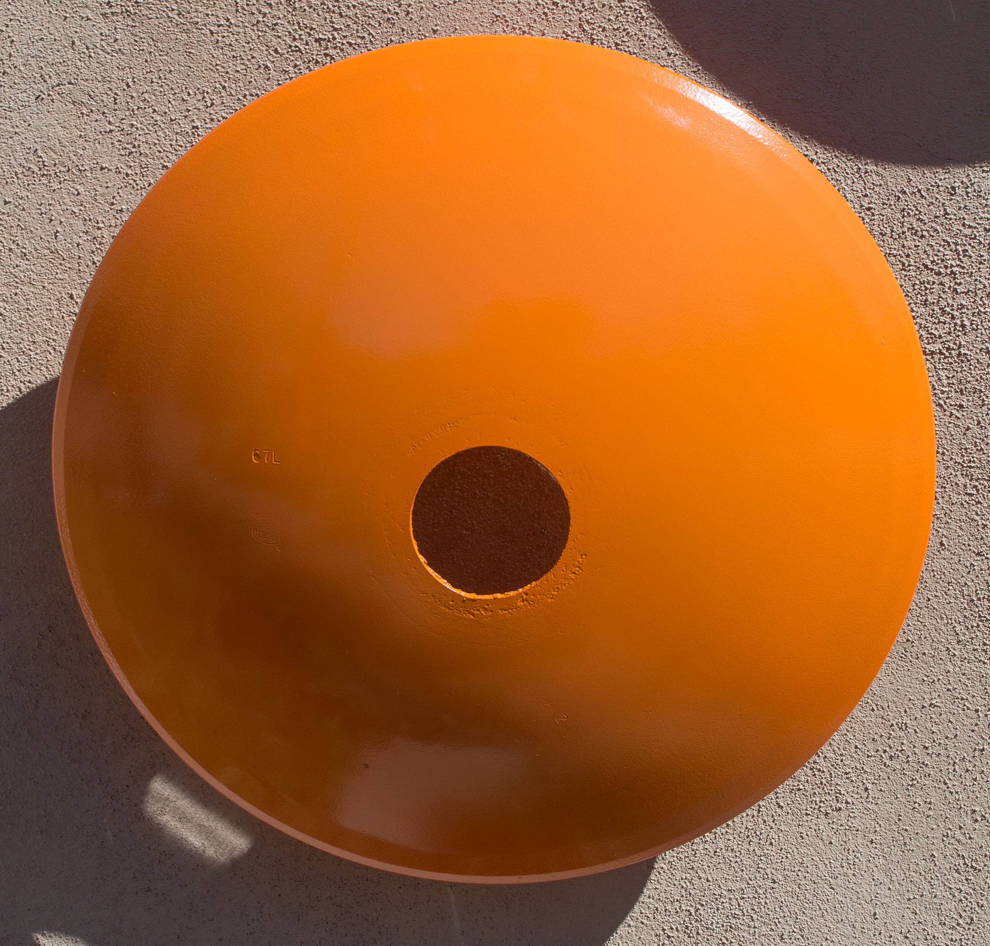 "Terrace Series, Disc Large (Light Orange)  22"" diameter $ 1,250."