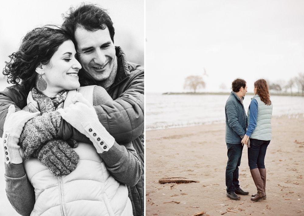 Cleveland Winter Beach Engagement Session