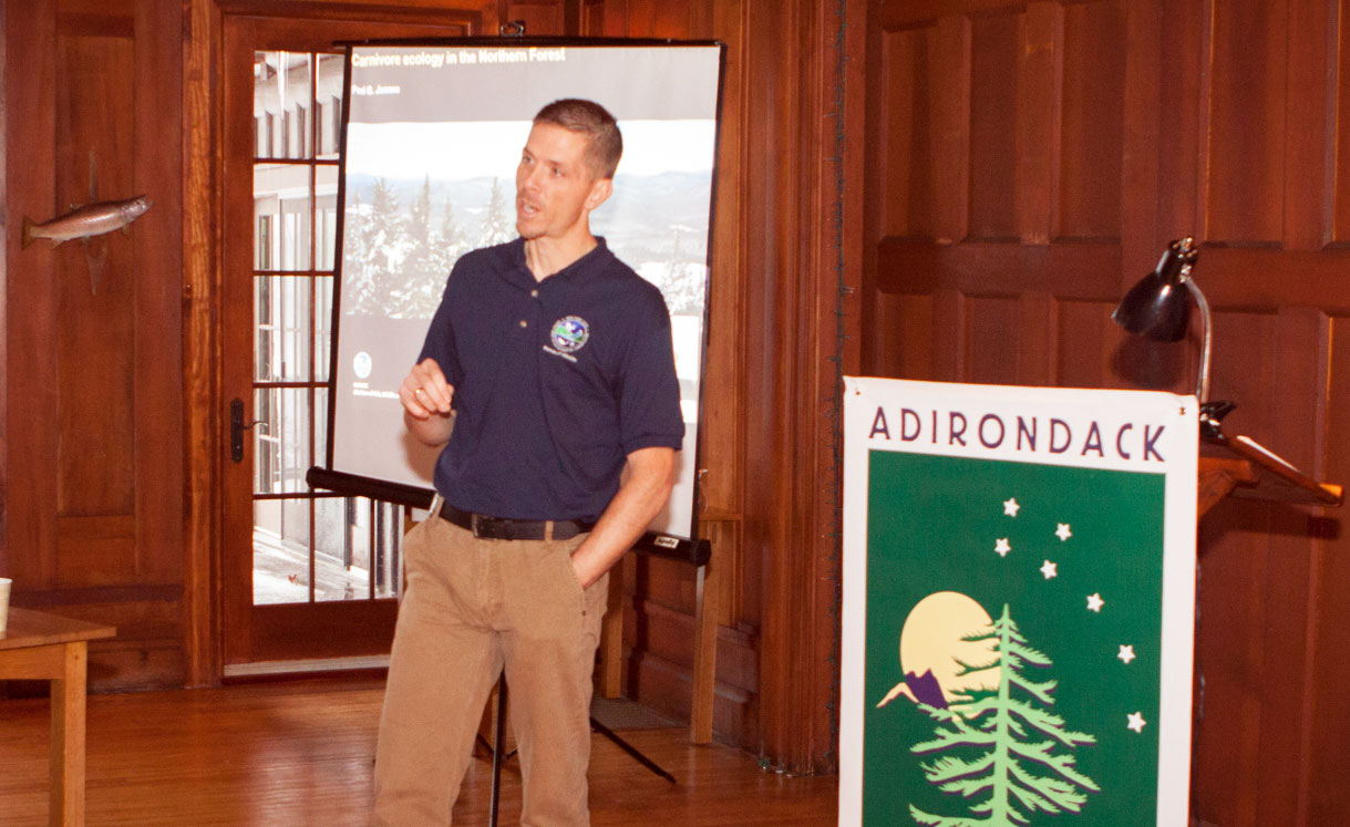 Paul Jensen, Senior Wildlife Biologist with DEC, explains his Pine Marten research, much of which is conducted on private lands.