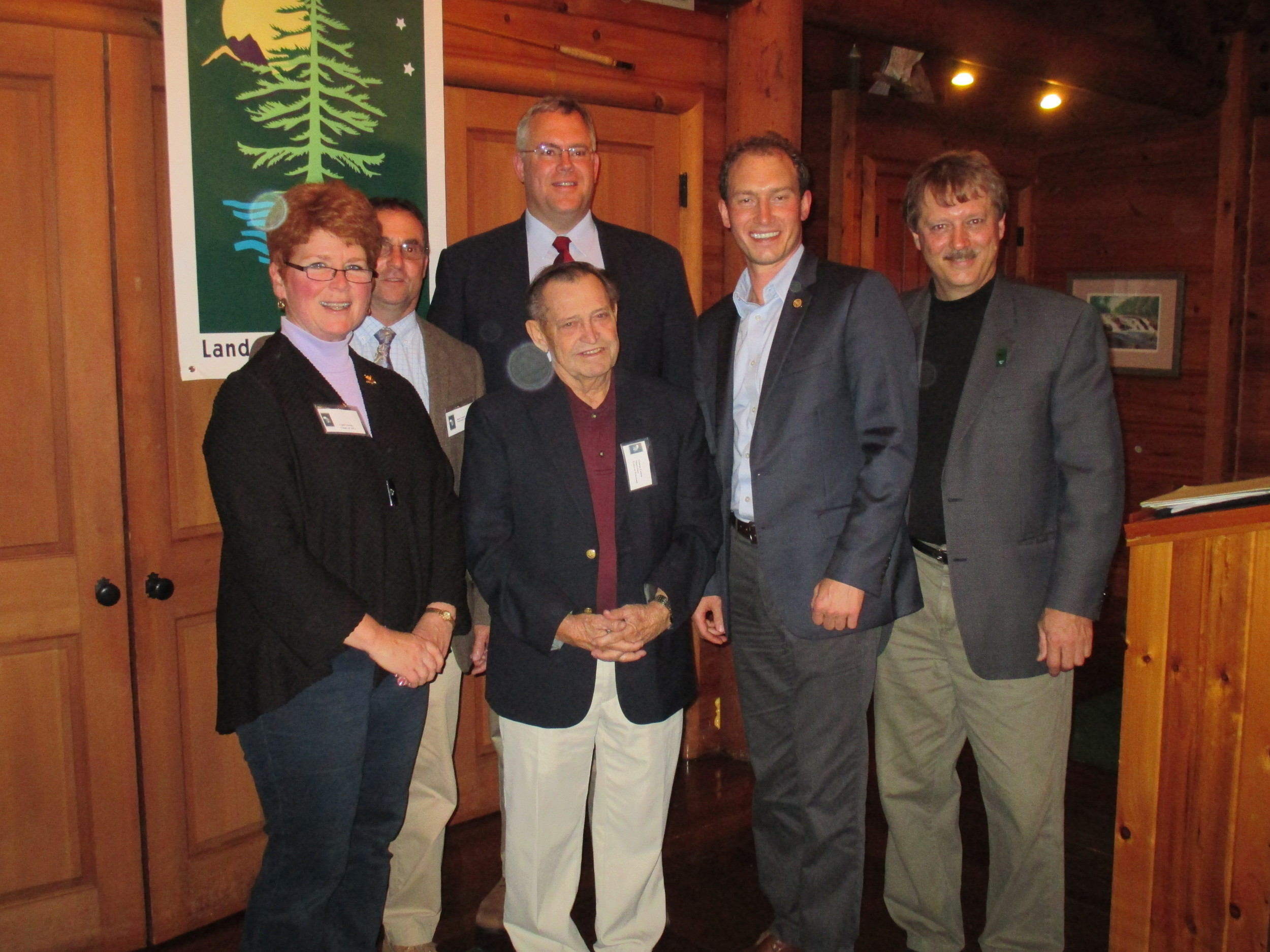 [l-r] APA Chairwoman, Lani Ulrich, AATV President, Brian Towers, Newcomb Supervisor, George Canon, Asst. Secretary for the Environment, Peter Walke, NYS Assemblyman, Dan Stec and ALA President, Tom Williams