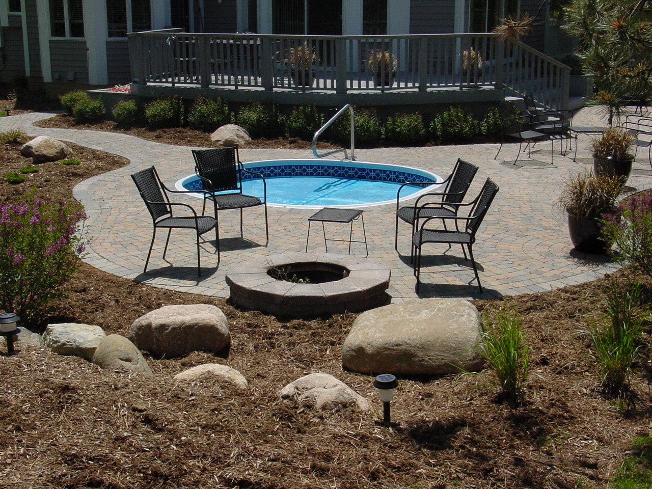 brick hot tub deck back yard