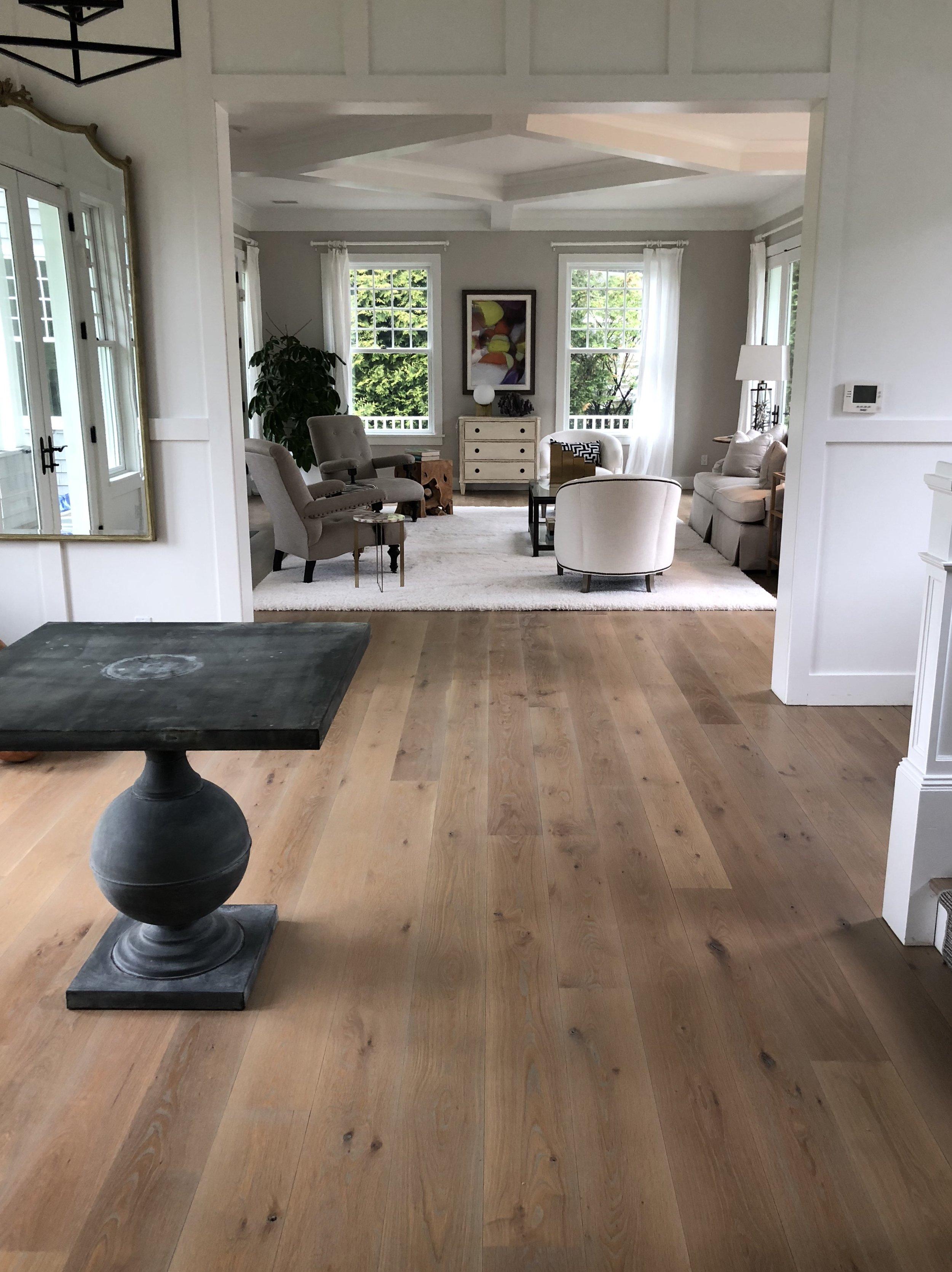 AMAGANSETT:  White Oak floors finished with Rubio Monocoat 2C Oil, Smoke