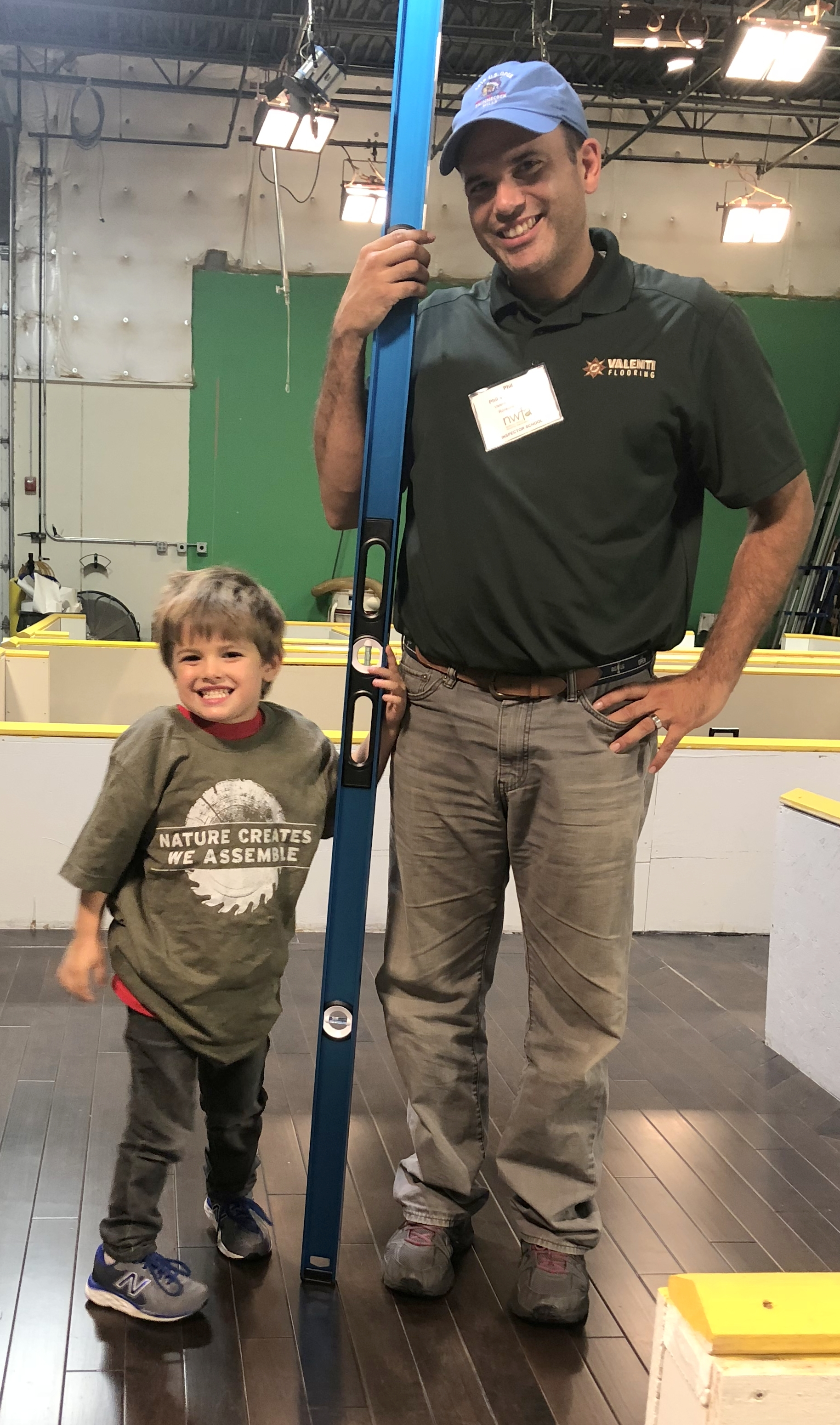 Nash Valenti and Phil Valenti at NWFA Inspector School & Training at NWFA Headquarters in Chesterfield, MO. Nash is modeling our fav NWFA T-shirt.