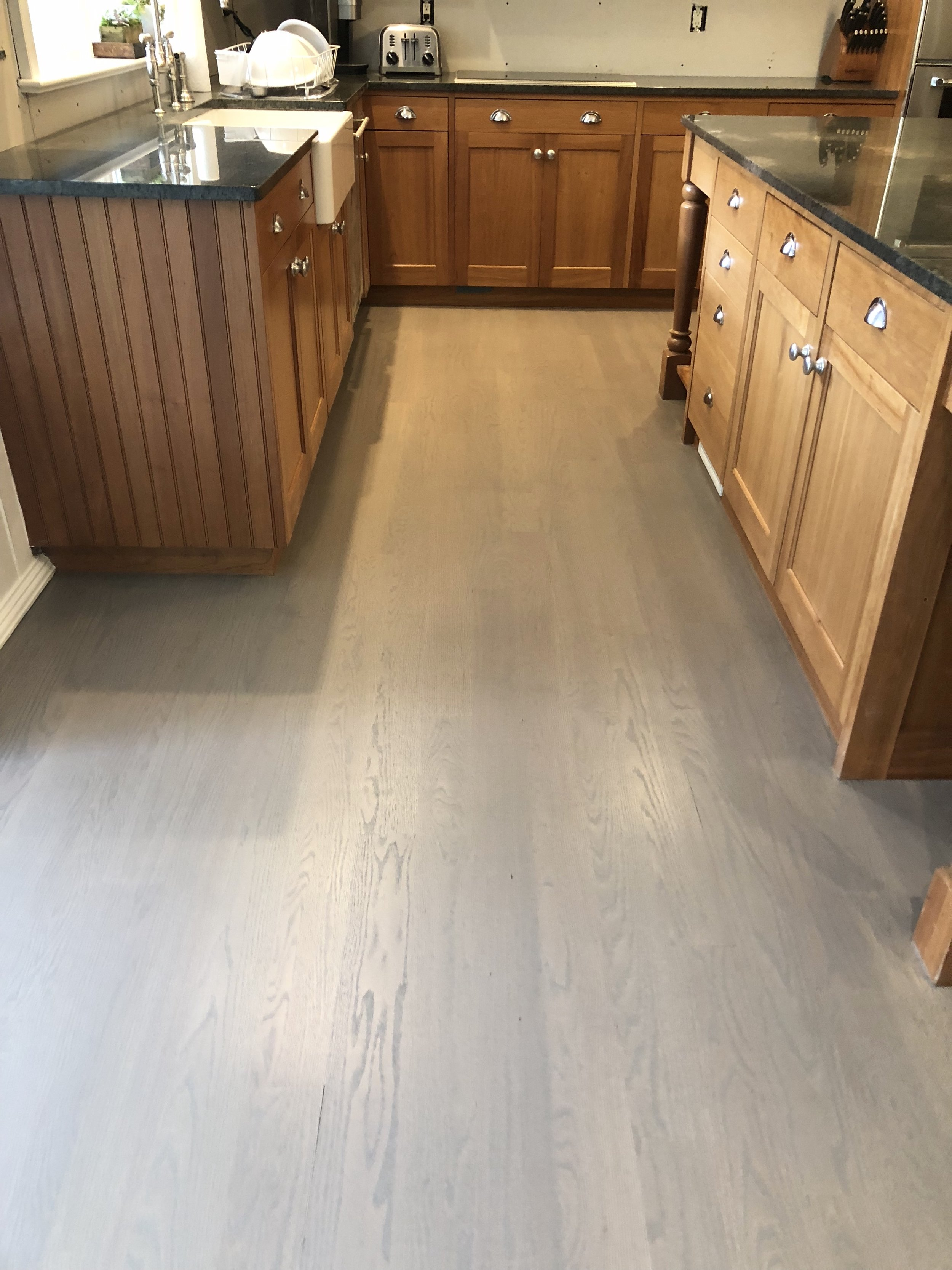New Gray Floors + Old Orange Cabinets   We Strongly Suggest Changing Trim  And Cabinets To