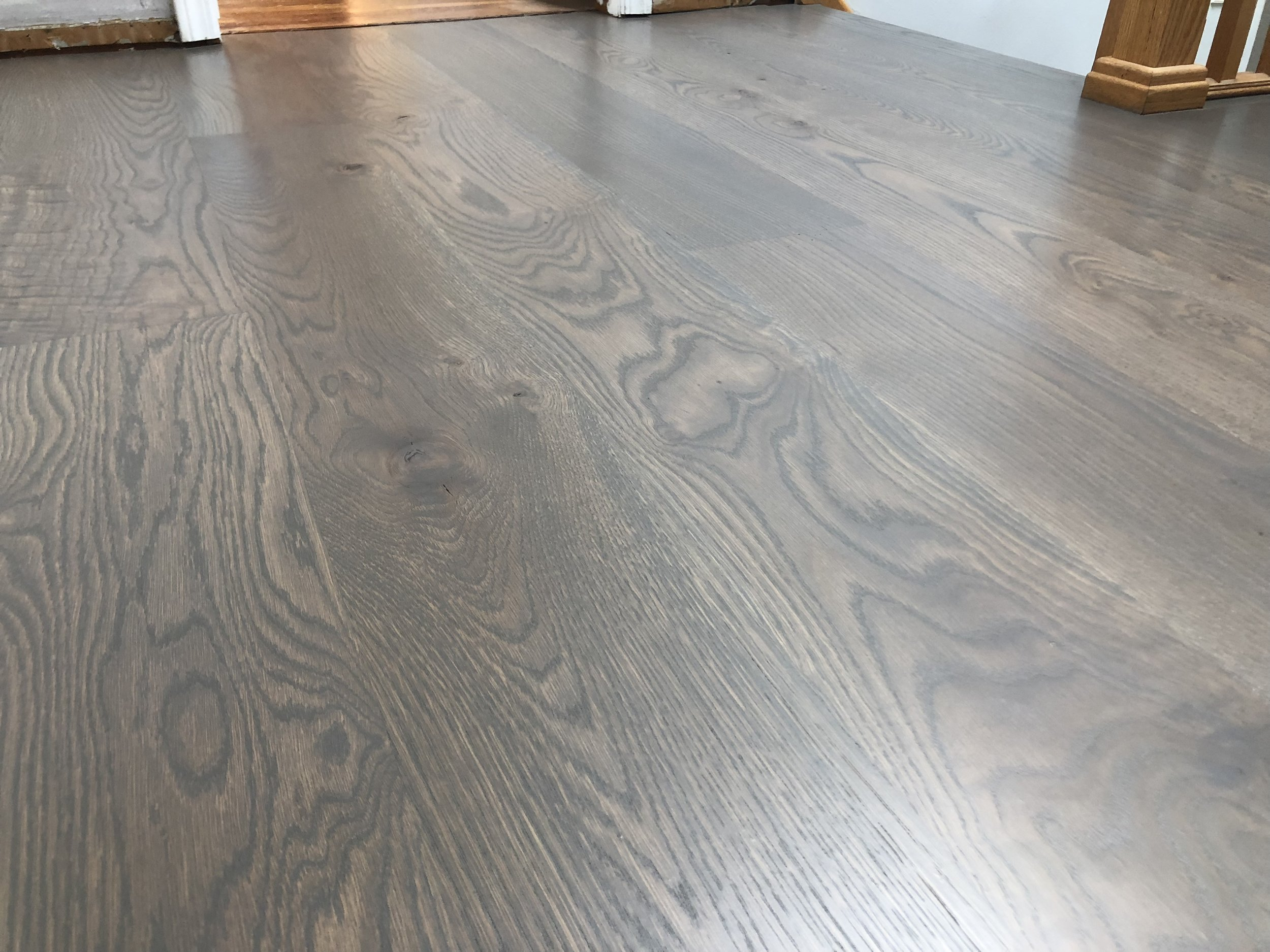 "8"" Character White Oak installed & finished in Syosset - Love this rich dark gray!"