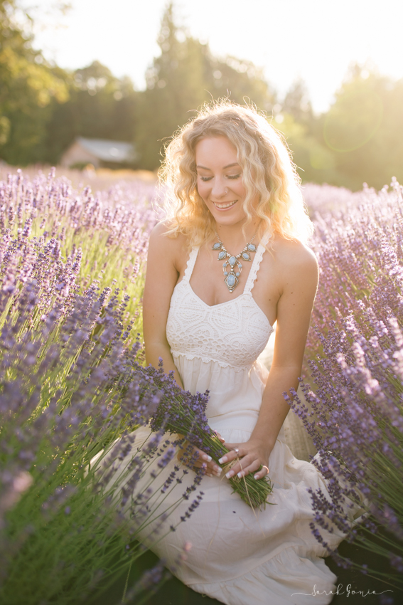 Olympia Senior Photographer Evergreen Lavender Farm Sunset
