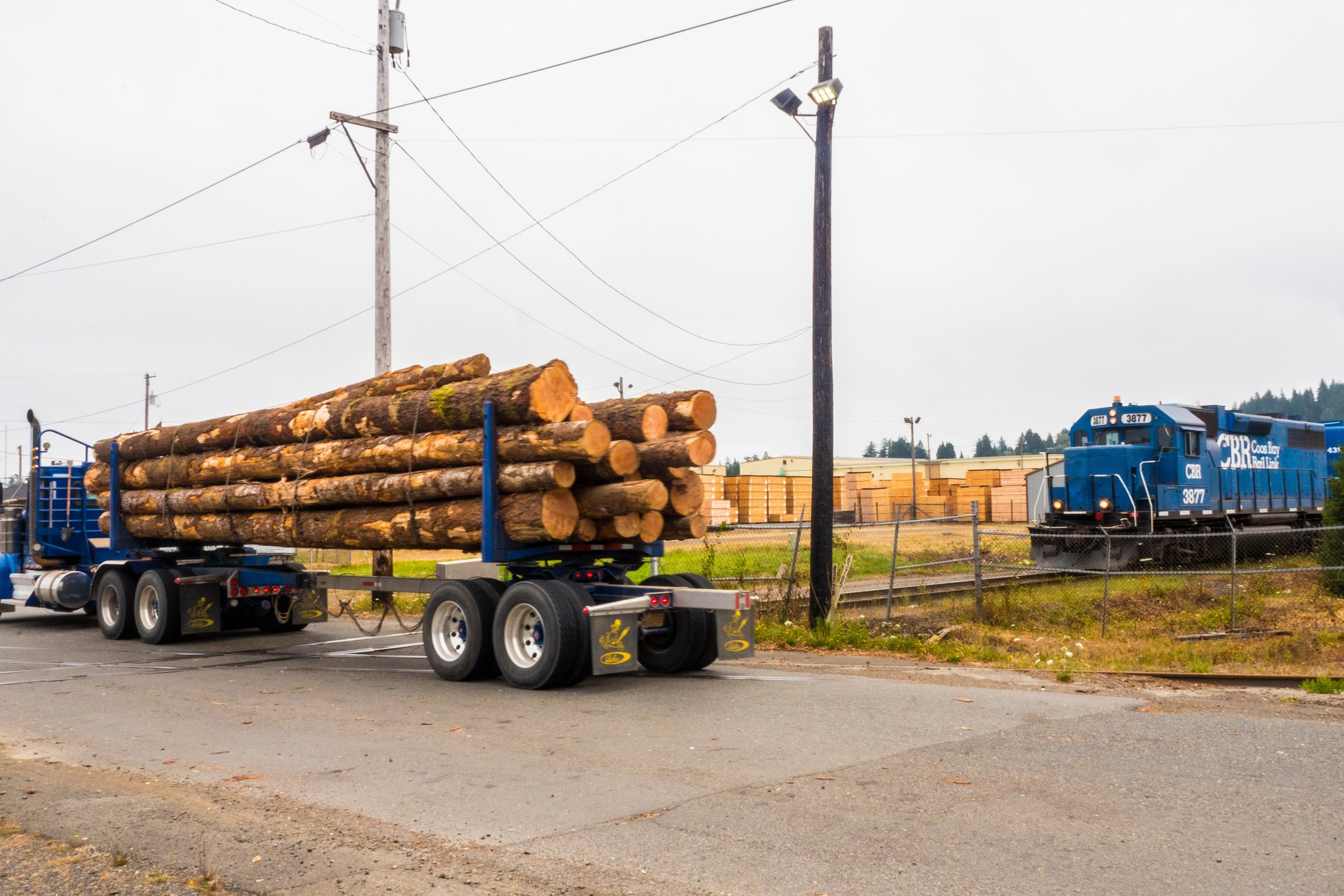 A log truck enters the GP Sawmill while a fully loaded CBR gets ready to head out