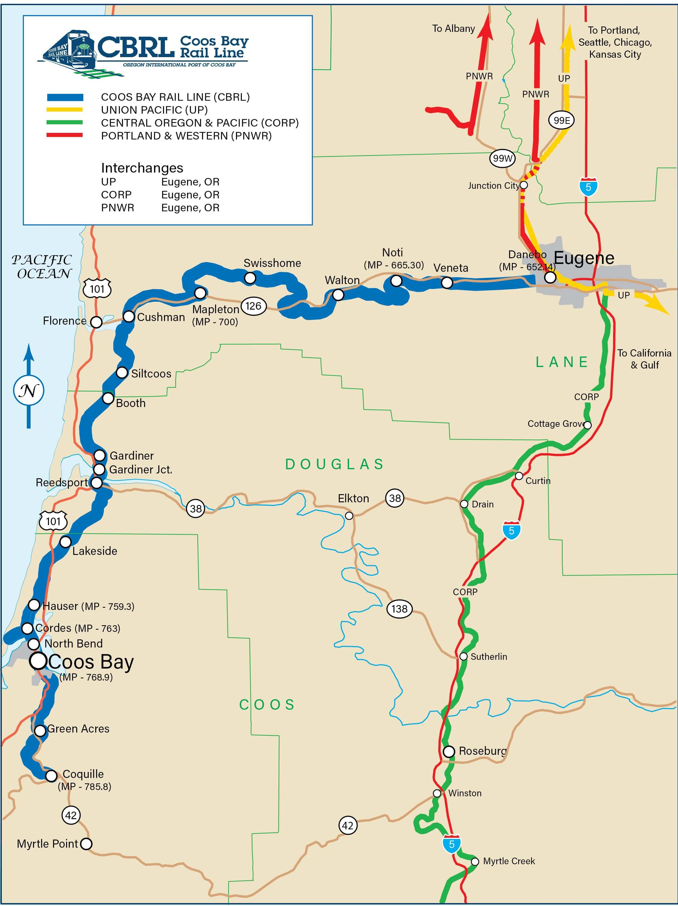 Coos Bay rail Line map