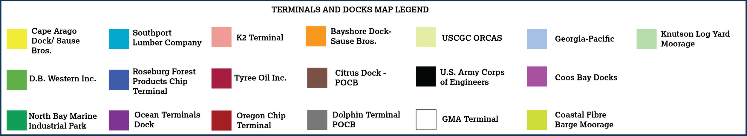 Terminal and Docks Map Legend