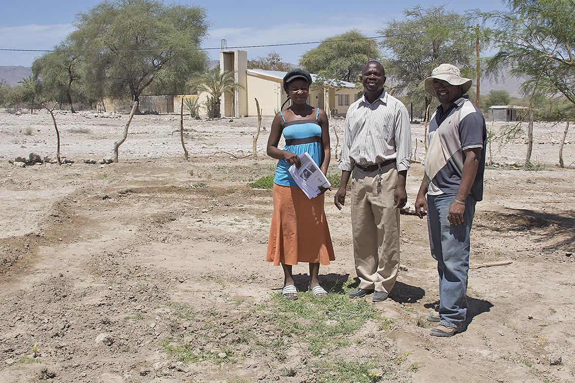 Sesfontein garden owner with Wilbard and Bennie