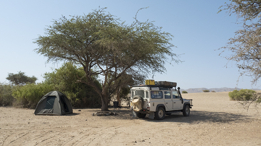 Tilly the SFP expedition Land Rover near the proposed Purros garden. This will be the projects headquarters in Purros