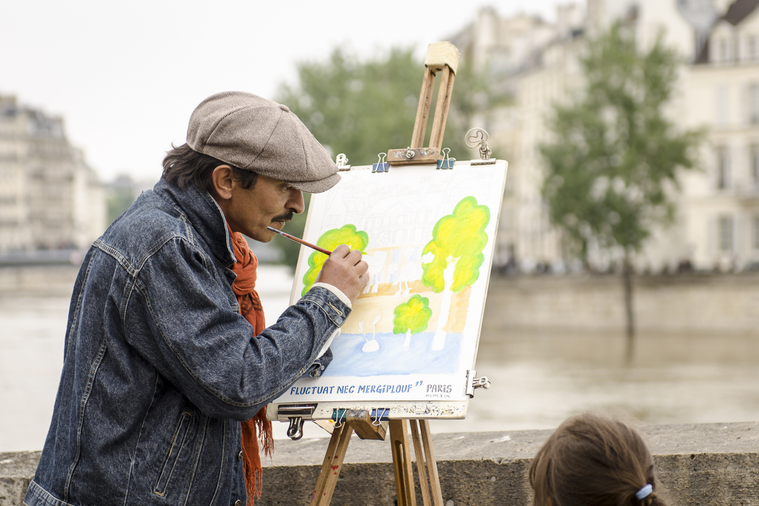 """Artist David Manuel Garcia plays with the Paris city motto """"Fluctuat Nec Mergitur"""" which means """"Tossed but not sunk"""" in Latin, but changes it to add the french expression """"gloup"""" similar to """"plop"""" in English, to make """"Fluctuat Nec Mergigloup""""   Photo : Alexander J.E. Bradley"""