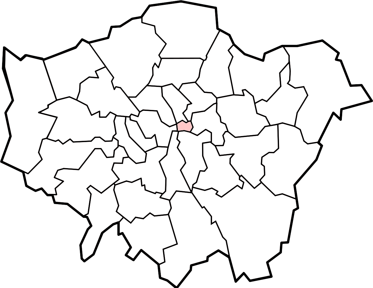The City of London located inside Greater London.