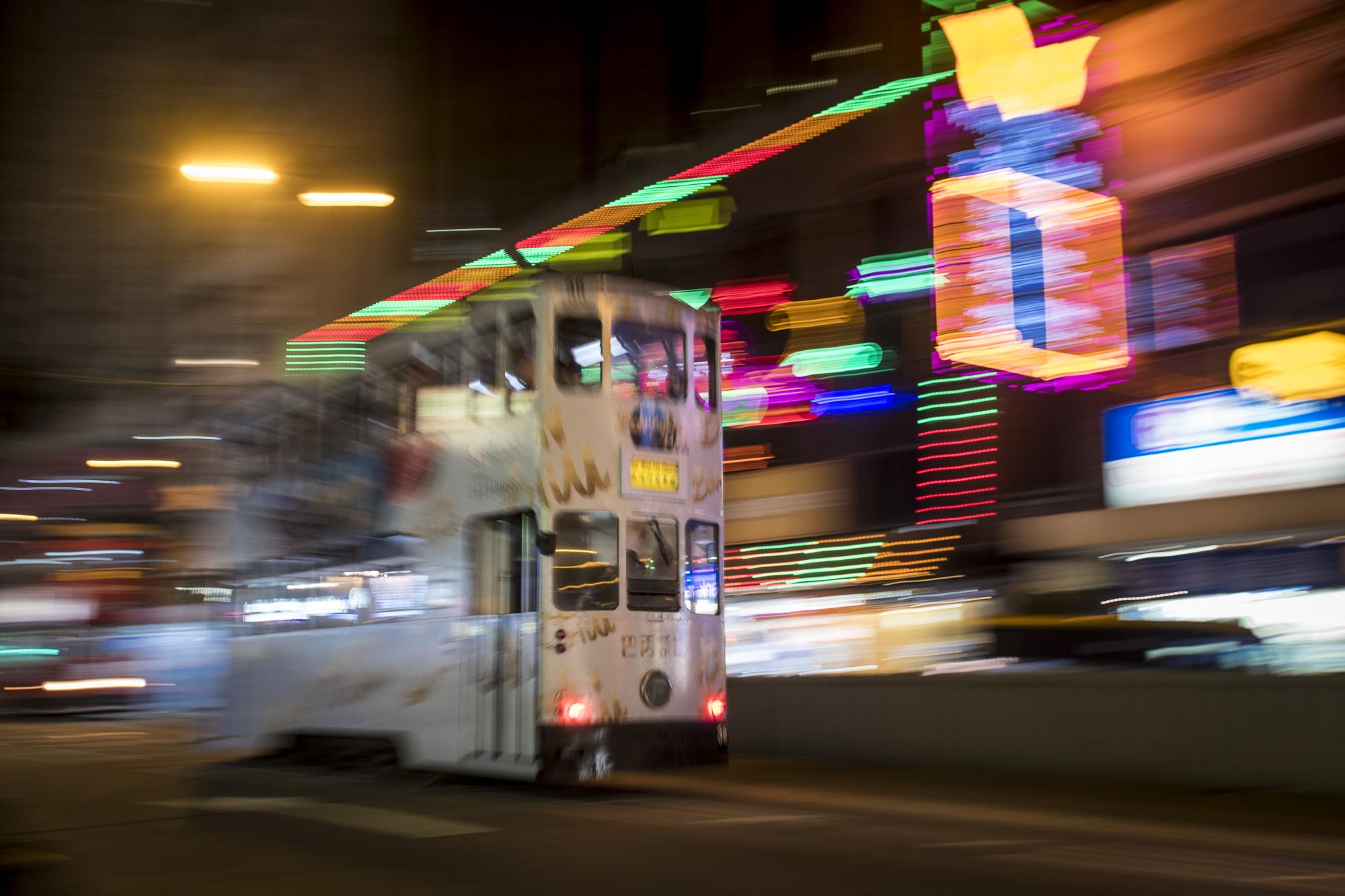 Hong Kong Tram  PHOTOGRAPHY: ALEXANDER J.E. BRADLEY • NIKON D500 • AF-S NIKKOR 14-24MM Ƒ/2.8G ED @ 24MM • Ƒ/5.6 • 1/5• ISO 250